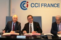 JF Gendron, président de CCI France international (c) et JF Roubaud, président de la CGPME (g)