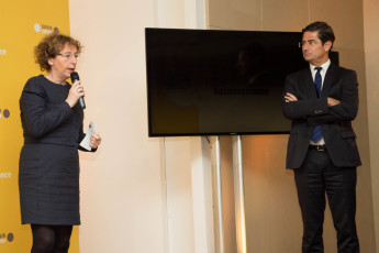 Muriel Pénicaud et Nicolas Dufourcq le 12 mars 2015, présentation du bial 2014 de Bpifrance