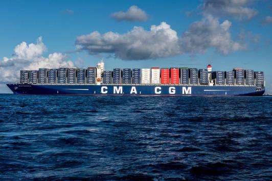 """Transport maritime/Innovation : CMA CGM met à l'eau le premier navire transportant des conteneurs """"connectés"""""""