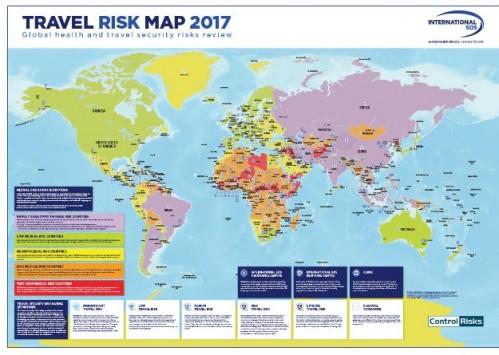 Risques sécurité-santé / Voyages : International SOS et Control Risks publient la Travel Risk Map 2017