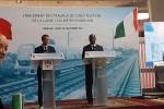 dépot de la première pierre du métro d'Abidjan par Emmanuel Macron et Alassane Ouattara, le 30 novembre 2017