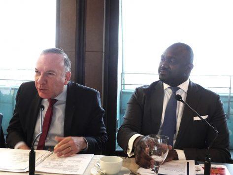 Pierre Gattaz, président de Medef, Baréma Bocum, associé, KPMG France